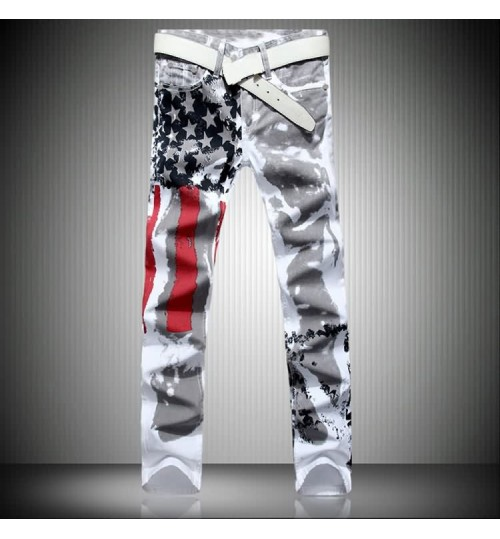 Myjeans198 men's American flag prints jeans high stretch Slim casual five-pointed star red bar plus size trousers