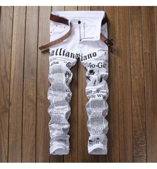 Myjeans198 men's white newspaper letters prints jeans stretch elastic slim casual trousers