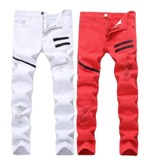Myjeans198 men's zipper casual jeans white red hole decoration multi-chain non-stretch Slim straight