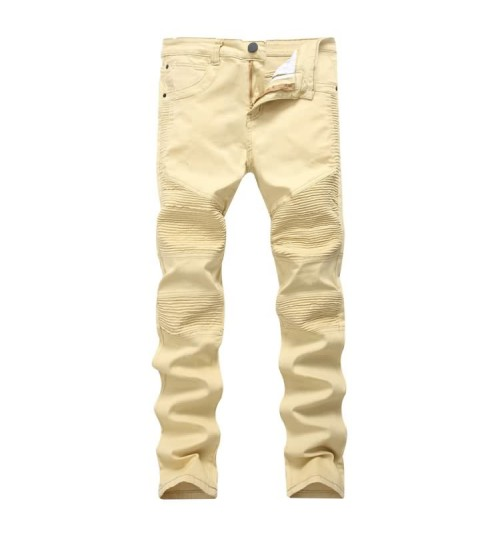Myjeans198 motorcycle jeans khaki casual men's Slim high elasticity