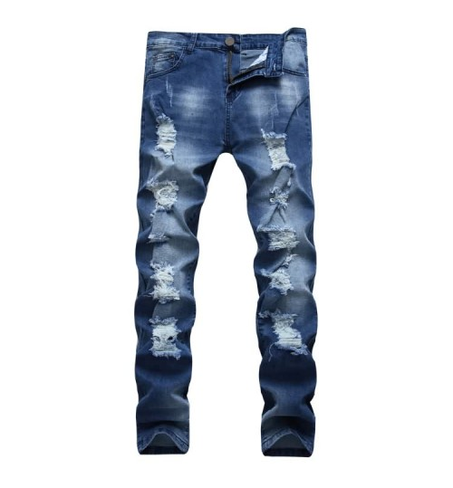 Myjeans198 multi-hole blue stretch North American men's jeans slim straight