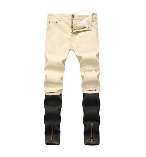 Myjeans198 new khaki zipper jeans  stretch tight casual trousers