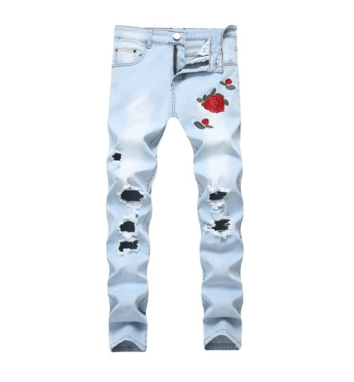 Myjeans198 new men's embroidered roses denim light blue pants Slim stretch trousers