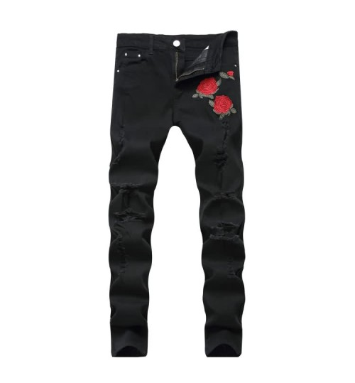 Myjeans198 new men's embroidery roses denim black pants slim stretch