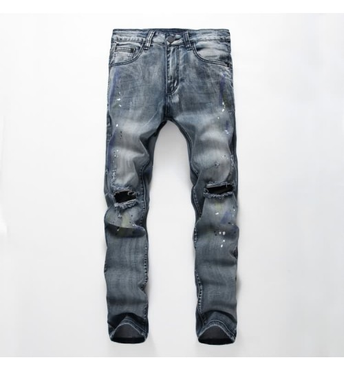 Myjeans198 painted prints denim trousers blue gray old American men's pants