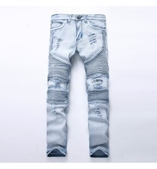Myjeans198 street motorcycle male personality pleated pants high elastic jeans