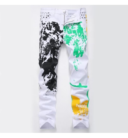 Myjeans198 White prints Jeans Pattern Men's Slim High-Elastic Cotton White Casual Trousers