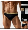 austinBem shining metal color men's swimming trunks beach sexy swimwear