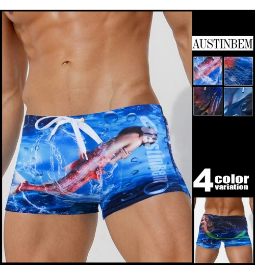 austinBem men's swimsuit personalized marine organism mermaid dolphin jelly fish pattern swimming pants