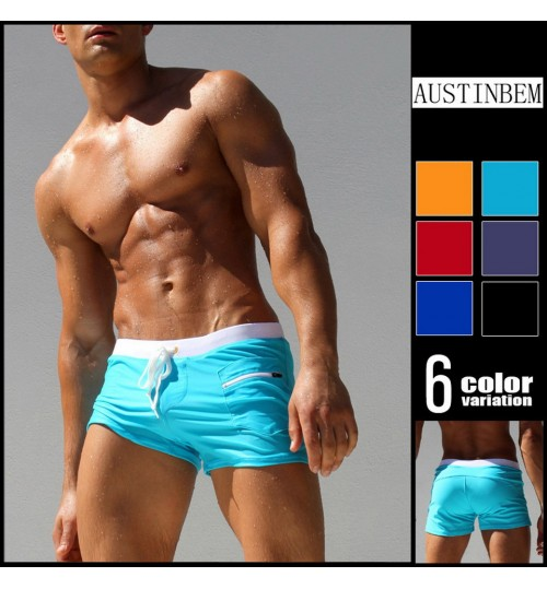 austinBem purity sexy swimming trunks fashion zipper front pocket swimsuit beach pants