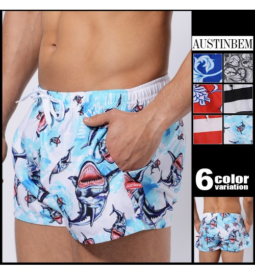 austinBem men's casual pants fashion blue black red flower boxer shorts