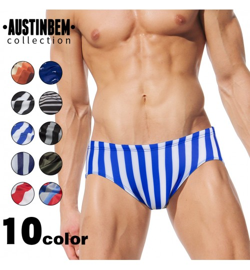 austinBem fashion stripe men's swimming trunks 10 colors