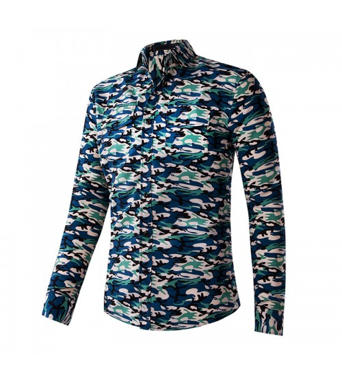 Camouflage long-sleeved men's shirt casual non-iron male shirt cotton