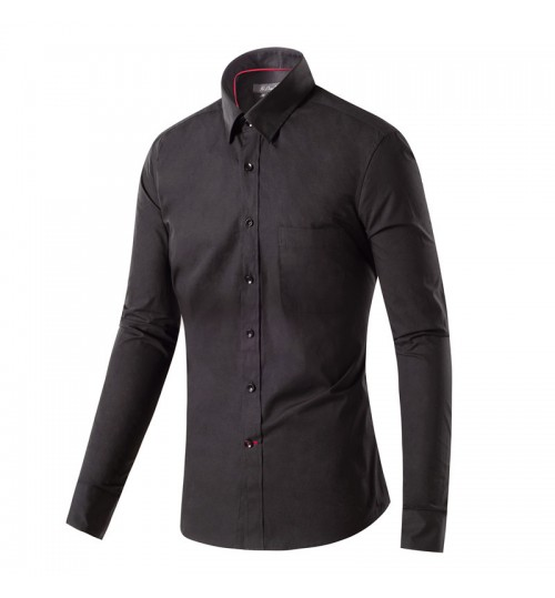 Black Long Sleeve Men's Shirt Red Ribbon Cotton Black Shirt