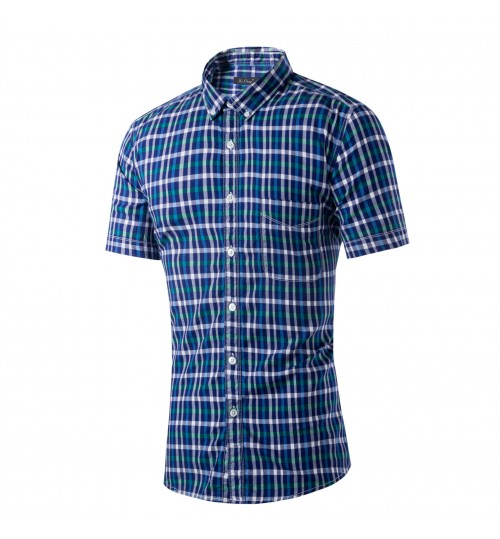 Plaid short-sleeved shirt Cotton washable casual blue red shirts
