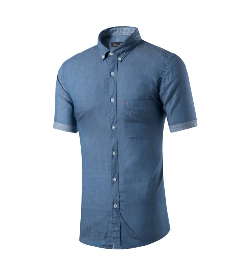 Cotton casual men's solid color light grey dark gray short-sleeved shirt