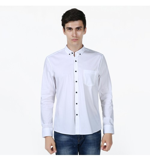 Cotton long-sleeved men's solid color lapel washable shirt