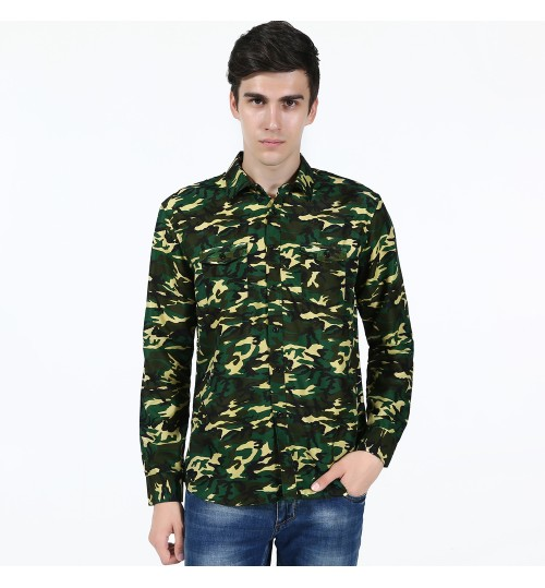 Camouflage long-sleeved men's casual shirt direct factory outlets