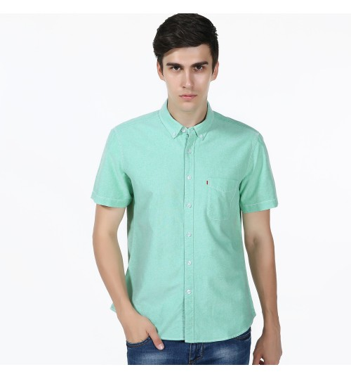 Short-sleeved shirt solid color cotton washable non-iron green pink white gray shirt