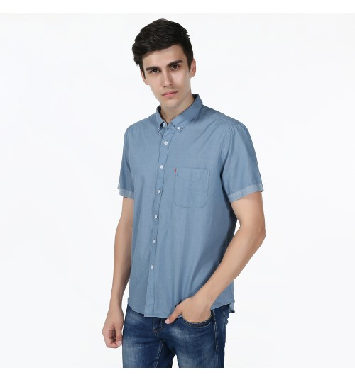Shirts wholesale cotton washable casual men's solid color short-sleeved shirt