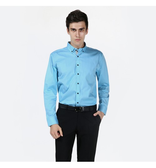 Long-sleeved solid color prints men's cotton breathable shirt