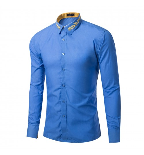 Europe and the United States fashion collar embroidered solid color long-sleeved loose men's shirt
