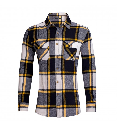 Autumn Winter cotton padded shirts dual pockets washable non-iron velvet long-sleeved men's shirts