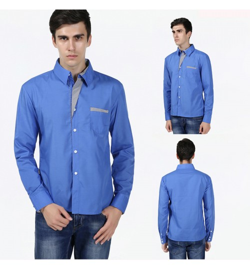 New Casual Mixed Color Plus Size Men's Long Sleeve Shirt