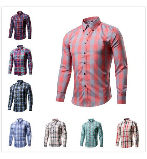 Hot sale men's long-sleeved plaid shirt 20% cotton Slim Men shirt
