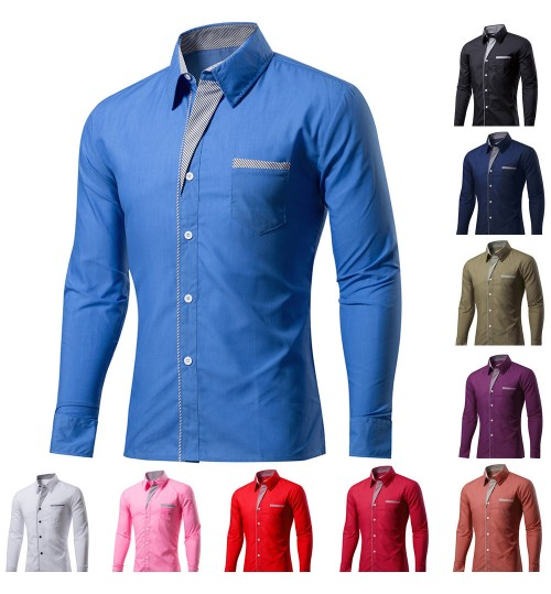 Men's Shirts 20% cotton long-sleeved solid color shirt