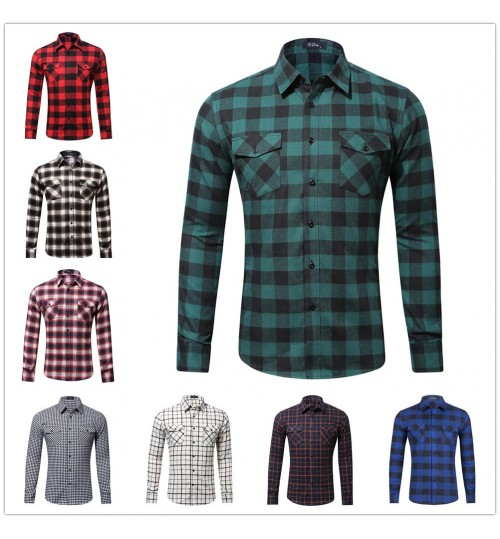 New cotton flannel plaid fabric Europe and the United States double-bag shirt for men