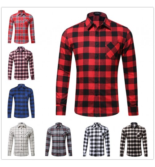 Cotton Flannel single pocket men's spring and autumn plaid shirt factory outlet