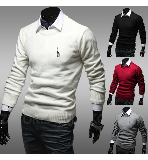 Men's Slim round collar Embroidery Sweater Coat Knit