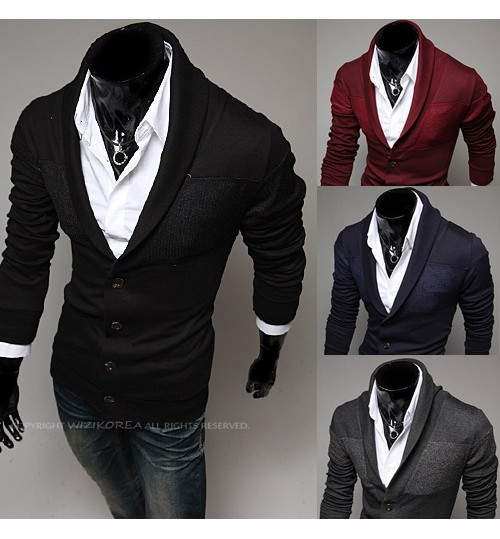 Men's Fashion Lapel multicolor Long Sleeve Sweatshirt