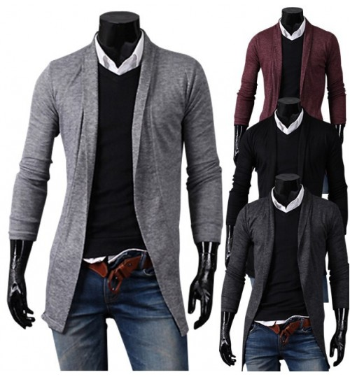 Autumn Winter new men's fashionable casual long sleeve cardigan coat