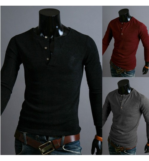 New men's button round collar solid color knitwear British fashionable long-sleeved sweater