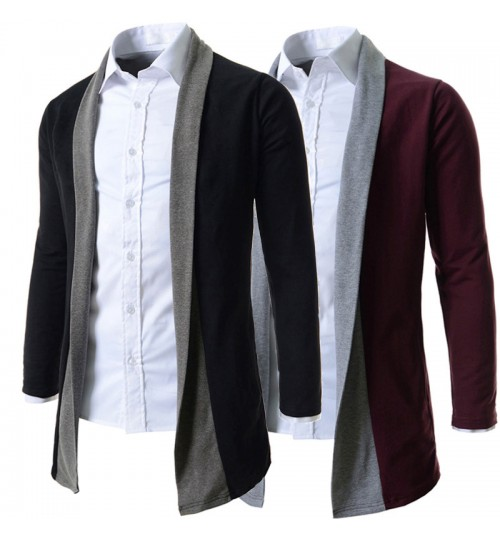 New men's mixed-color long-sleeved knit shirt British fashion lapel knitted cardigan