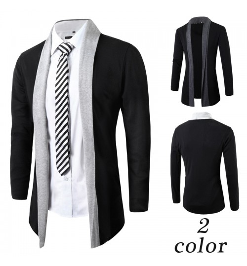 Autumn new men's buttonless knitted cardigan British Slim contrast color casual jacket