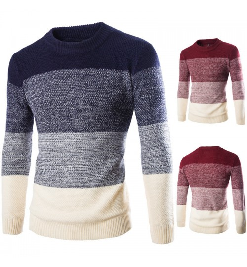 Autumn Winter new men's sweater sets England Slim round collar color