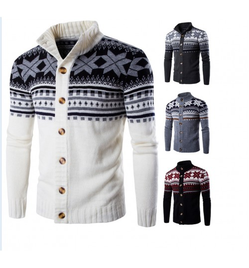 Autumn Winter new men's sweater fashion big snow knitted cardigan coat