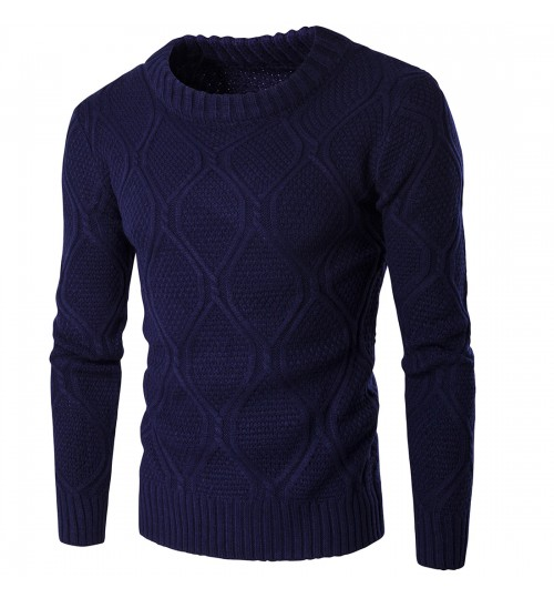 Autumn Winter men's solid color thick warm sweater knit clothing navy blue