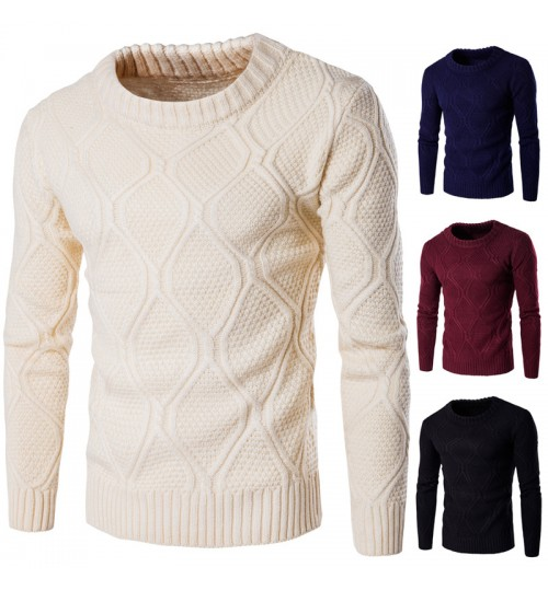 Autumn Winter men's solid color thick warm winter knit sweater