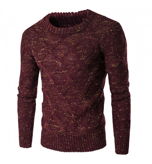 Autumn Winter men's sweater thick warm knit clothing colorful little spots
