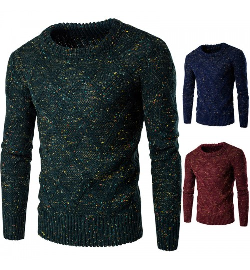 Autumn Winter men's thick warm knit sweater clothing colorful point