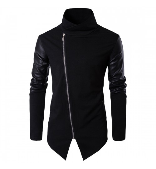 High-end cotton autumn new stand-up collar slim spell leather sweater
