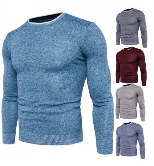 Autumn Winter new men's round collar warm sweater