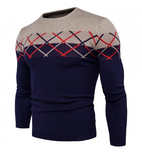 Autumn Winter new plaid colorblock men's sweater fashion coat
