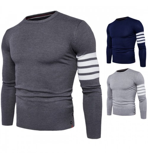 Autumn new men's round collar sweater cuff colorblock coat