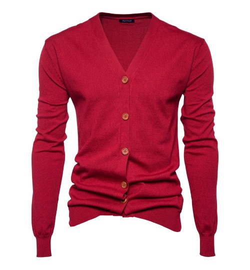 New Autumn Winter men's sweaters fashion simple solid color knitted cardigan