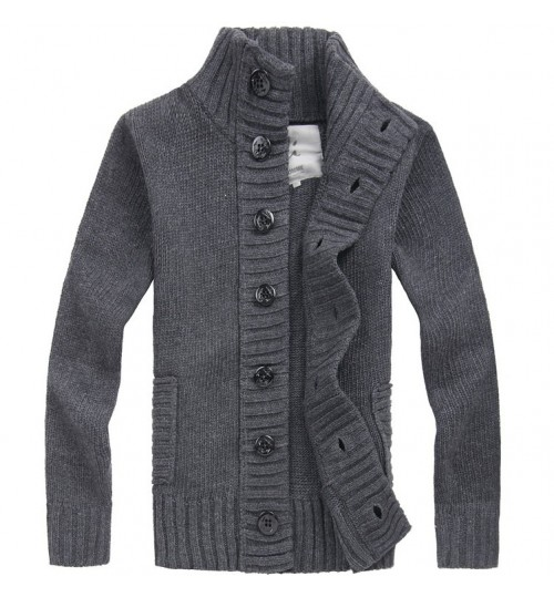 Cashmere Men's Sweater Single Breasted Cardigan Stand Collar Wool Plus Cotton